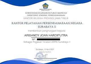Piagam Penghargaan Pegawai Teladan KPPN Surabaya II a.n. Arisandy Joan Hardiputra