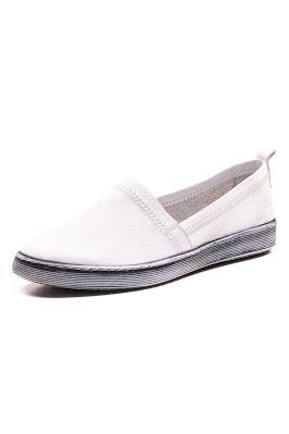 beyaz deri kadın babet ayakkabısı