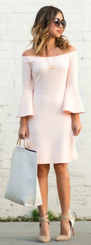 pink off-shoulder dress. Casual Womens Fashion and Womens Cool Trending Clothes, Dresses. #womensfashion #womensdress #summeroutfit #casualoutfit