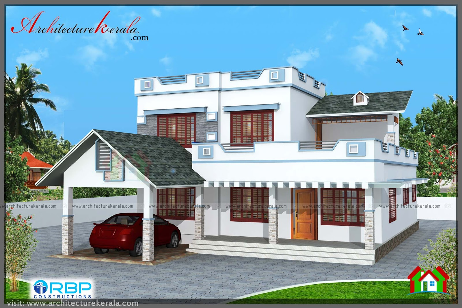 2000 square feet 3 bedroom house plan and elevation for Kerala house plans and elevations 2000 sq ft