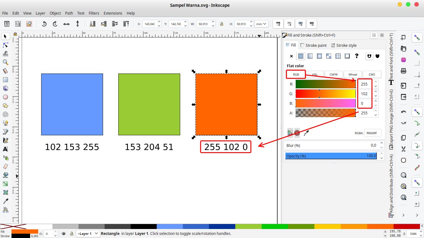 Gambar mengambil kode warna RGB di Inkscape
