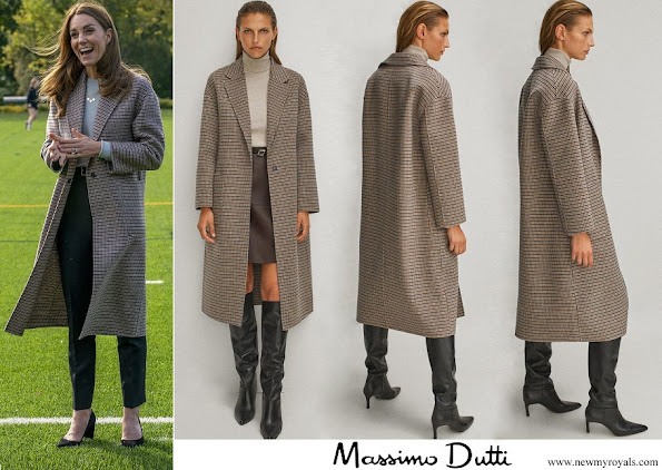 Kate Middleton wore Massimo Dutti Handcrafted checked wool coat