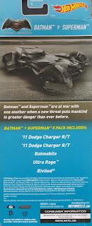 Back of Hot Wheels Batman v Superman 5-Pack 2015
