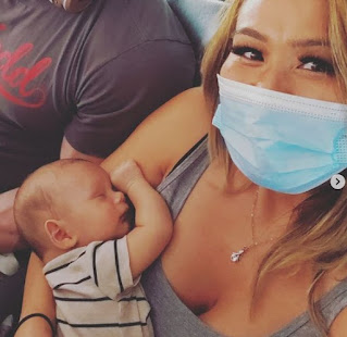 Miki Sudo clicking selfie with her baby son Mike