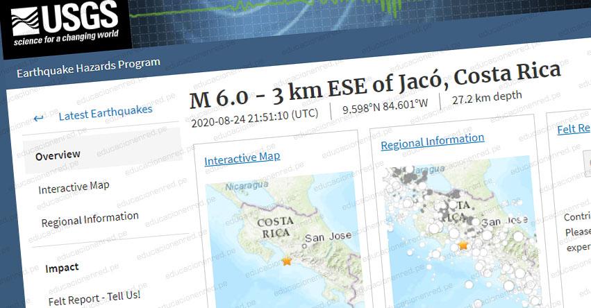 Terremoto en Costa Rica de Magnitud 6.0 (Hoy Lunes 24 Agosto 2020) Alerta de Tsunami - Sismo - Temblor EPICENTRO - Jacó - Cantón de Garabito - RSN - www.rsn.ucr.ac.cr