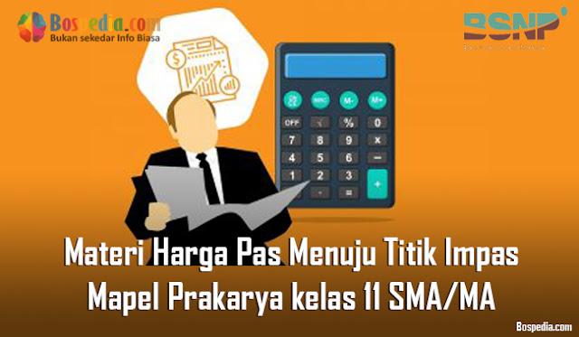 Materi Harga Pas Menuju Titik Impas Mapel Prakarya kelas 11 SMA/MA