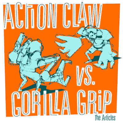 The illustration features two robot-like creatures facing off; one has claws for hands, while the other has oversize gorilla paws.