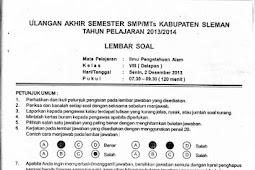 Soal UAS IPA SMP Kelas 7-9 Semester 1 Sleman