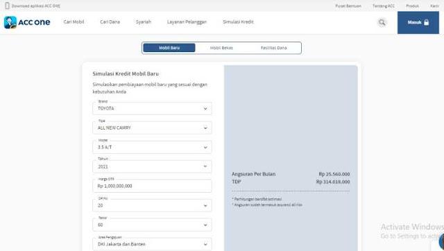 Tabel Angsuran ACC Finance 2021