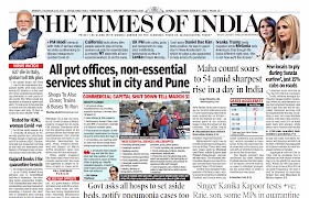 Times Of  India Epaper 21st March 2020
