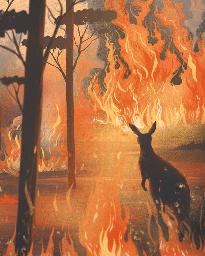 Piercing illustrations describing the horror and distress of Australian fires