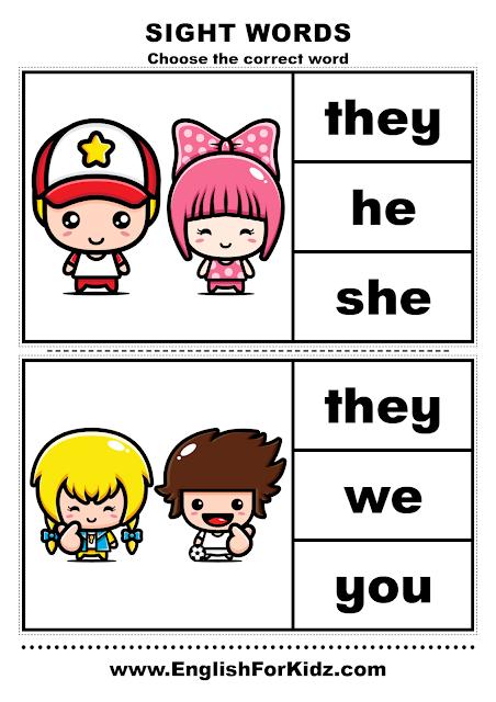 Sight words clothespins activity - pronouns