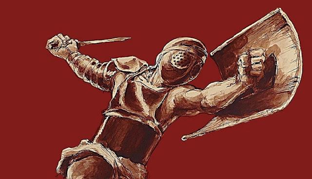 gladiator provocator bersiap menebas musuhnya