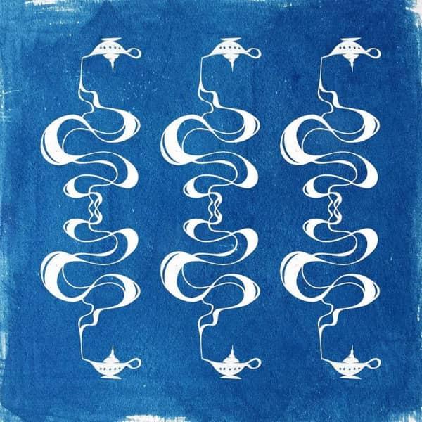 papercut van zes lantaarns verbonden door scrollende rookslierten