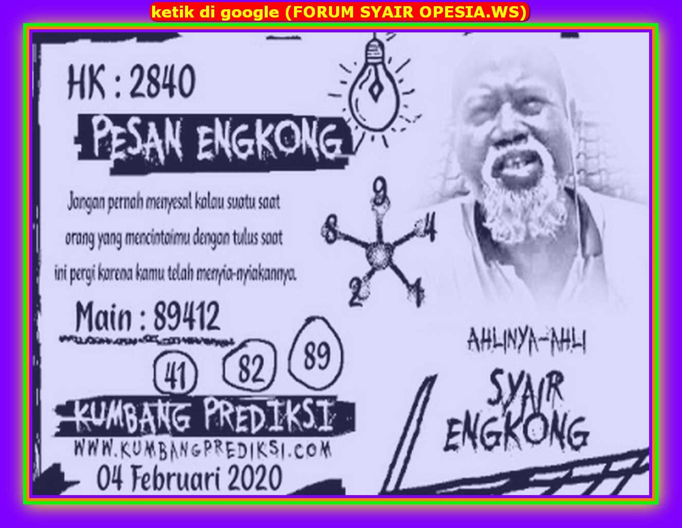 Kode syair Hongkong Selasa 4 Februari 2020 167