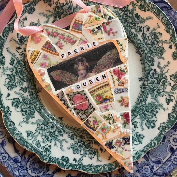 Broken china mosaic heart designed by Laura Beth Love, Emmaus PA