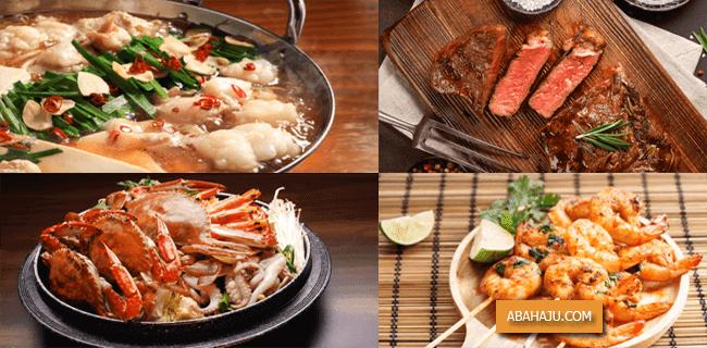 Jeroan, daging merah, seafood seperti kepiting atau udang