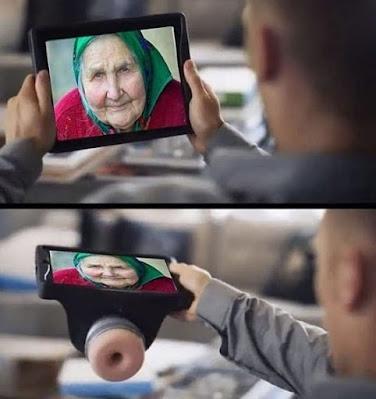 Lustiger Bilder Videoanruf von Oma