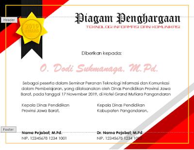 Contoh Piagam Penghargaan dengan Microsoft Word