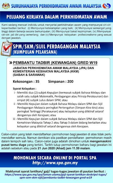 Kkm Buka 235 Jawatan Pembantu Tadbir Gred W19 Spm Layak Memohon Mingguan Kerja