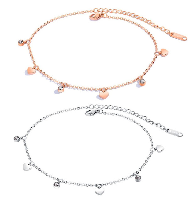 Rose and White Gold Heart Anklets