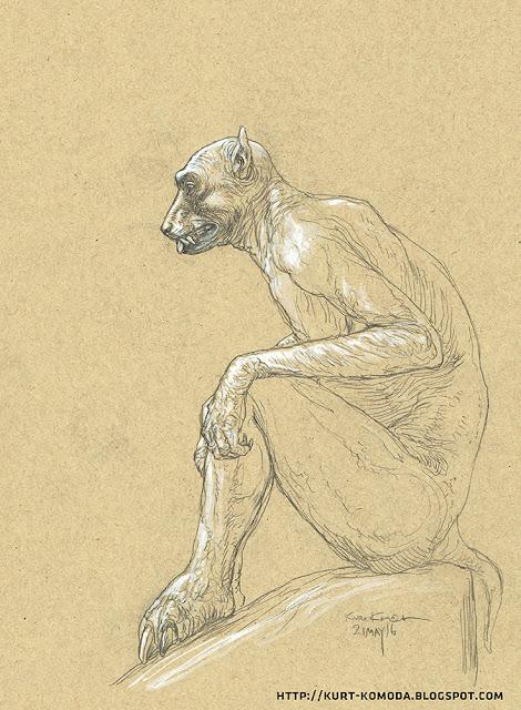 Lovecraftian ghoul in profile.