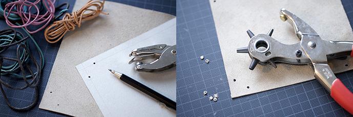 2 Fotos. Pappschablone, Leder und Lederbänder. Gestanztes Stück Leder mit einer Lochzange.