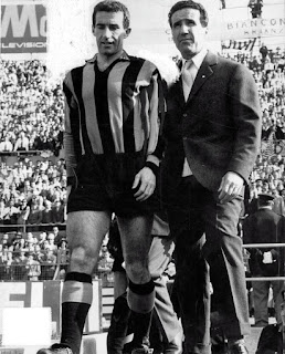 Picchi pictured with the legendary Inter coach Helenio Herrera