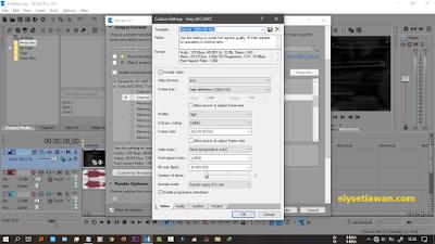 pilihan opsi rendering sony vegas pro