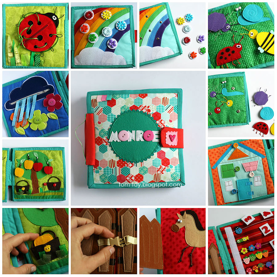 Quiet book for Monroe, handmade, busy book, travel toy, unique gift by tomtoy, развивающая книжка