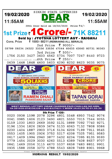Lottery Sambad 19.02.2020 Sikkim Lottery Result 11.55 AM