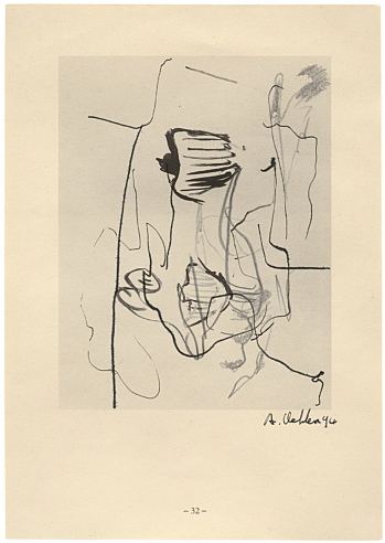 Albert Oehlen Untitled (32), 1994  ink, gouache, pencil,  Tipp-Ex on catalogue page 21 x 15 cm