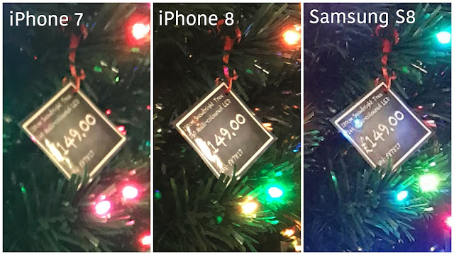 3 images of the price label on the pre-lit tree