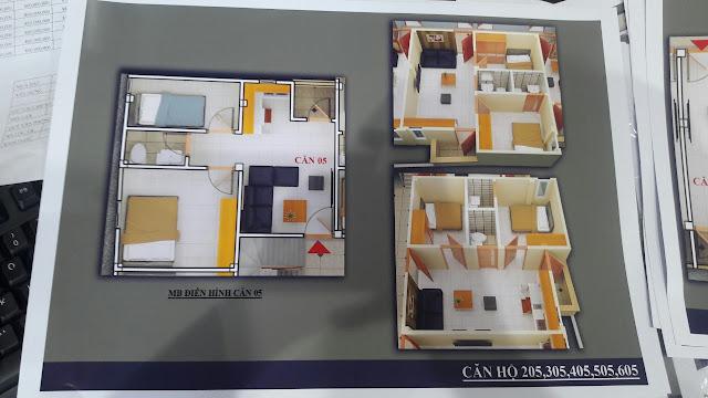 Mặt bằng căn hộ trục số 5 chung cư mini Vĩnh Phúc
