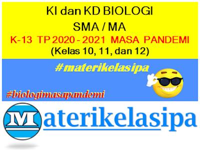 KI KD Biologi SMA/MA Masa Pandemi (Kurikulum 2013 Tahun Pelajaran 2020-2021)