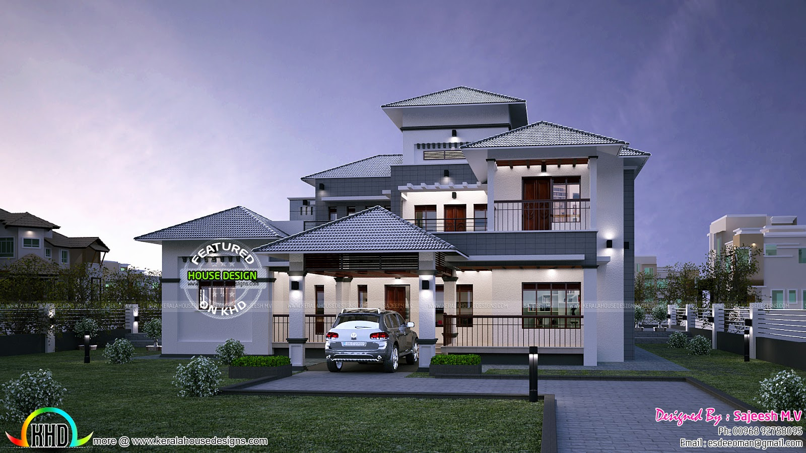 Pitched Roof Kerala Style Villa Kerala Home Design And Floor Plans