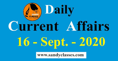 Daily Current Affairs in Hindi / English -  16 September 2020
