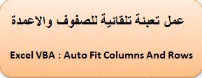عمل تعبئة تلقائية للاعمدة والصفوف Excel VBA : Auto Fit Columns And Rows