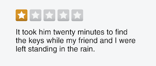 "1-star review graphic: ""It took him twenty minutes to find the keys while my friend and I were left standing in the rain."""