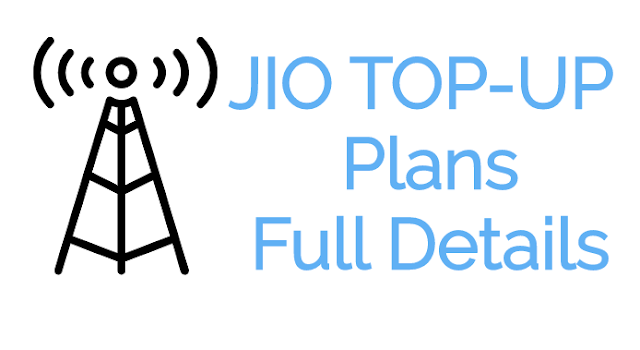 JIO Topup Plans Full Details
