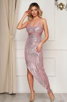 Rochie roz asimetrica cu paiete de ocazie