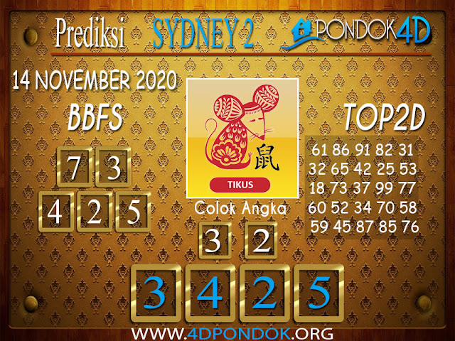 Prediksi Togel SYDNEY2 PONDOK4D 14 NOVEMBER 2020