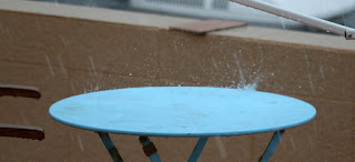 Big splash off the metal table