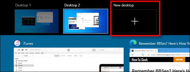 """حدد """"سطح مكتب جديد"""" في عرض المهام على نظام التشغيل Windows 10."""