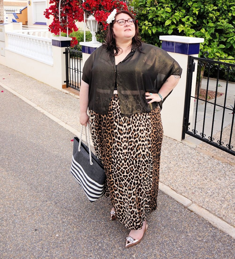 Leopard print skirt and sheer gold shirt plus size outfit featuring Elvi plus size holiday wear