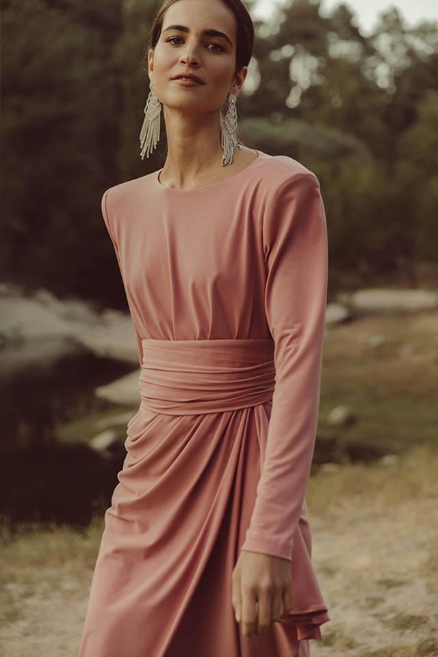 vestido invitada fiesta boda otoño invierno largo corto mono colour nude