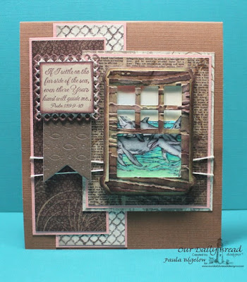 Our Daily Bread Designs, The Mighty Sea, Under the Sea, Faithful Fish Die, Welcoming Window Die, Pennants Die, Layered Lacey Squares Die, Vintage Ephemera Collection, Designed by Paula Bigelow
