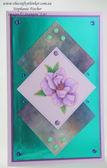 #thecraftythinker #stampinup #cardmaking #magnoliablooms #alcoholmarkers , Magnolia Blooms, Perennial Essence, Noble Peacock Foil, Stampin' Blends alcohol markers, Stampin' Up