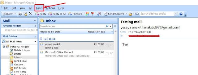 cara mengeluarkan email dari outlook