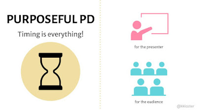 """""""Purposeful PD, Timing is everything"""" and a yellow circle with an hour glass icon in the center; right side, top: icon of person pointing at screen """"for the presenter,"""" underneath are 5 icons to represent an audience, """"for the audience"""""""